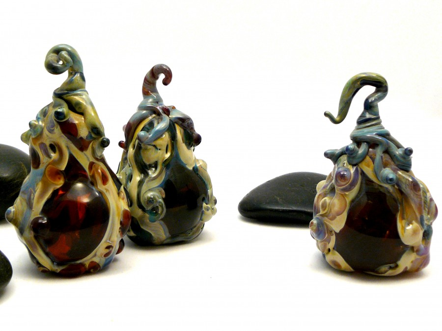 Gourds lampwork glass sculpture 4 1/2″ 2004